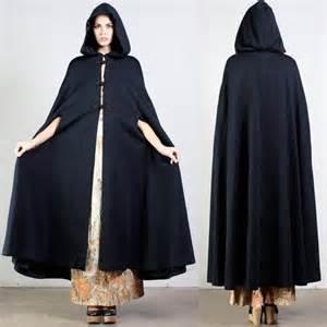 Vintage hooded cloak black draped cape shawl coat winter victorian