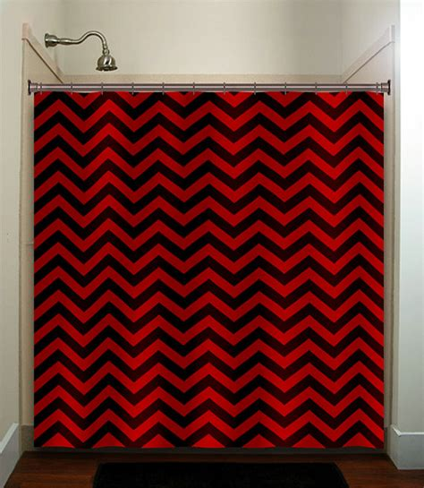 red chevron shower curtain classic black red chevron shower curtain bathroom decor fabric