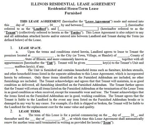 Illinois Residential Tenancy Lease Agreement Illinois Rental Agreement Illinois Lease Agreement Template