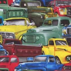 Cotton Ford Ford Trucks Vintage And New Cotton Fabric Bty For