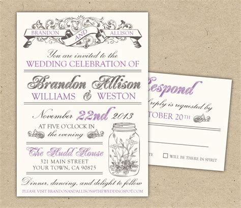 printable invitations on etsy vintage wedding invitation diy printable by bejoyfulpaper