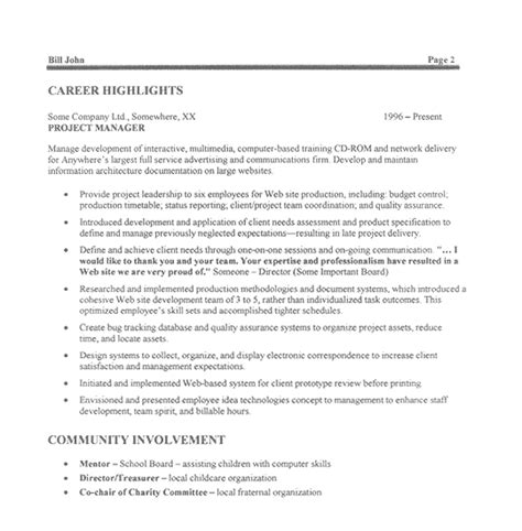 Manager Profile Resume by Project Manager Profile Summary Exles Experience Resumes