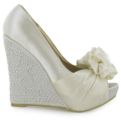 Ivory Wedding Wedges womens diamante ivory peeptoe wedge heeled satin