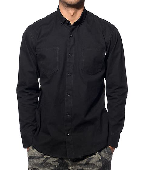Kemeja Quiksilver Fresh Breather sleeve black button up shirt is shirt