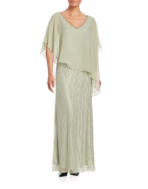 j kara beaded gown j kara beaded popover gown in green save 6 lyst