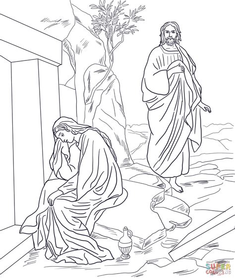 resurrection coloring pages jesus appears to magdalene after resurrection