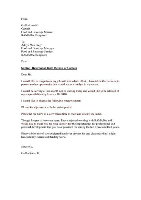 Resignation Letter Exle Immediate Resignation Letter Format Marvelous Sle Immediate Resignation Letter No Notice Personal