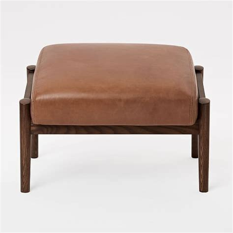 wood and leather ottoman mid century show wood leather ottoman west elm