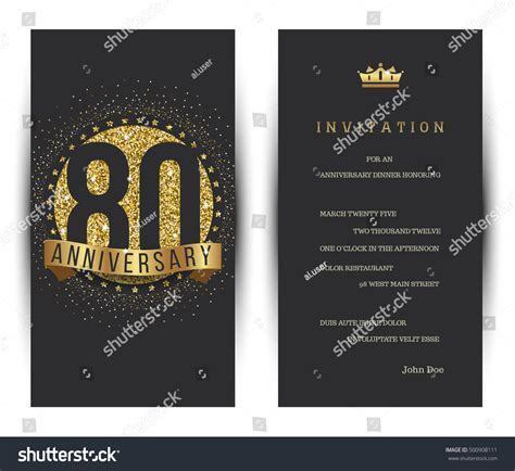 greeting card template anniversary 30 word 80th anniversary decorated greeting card template stock