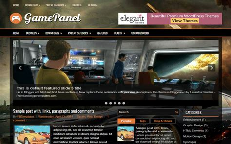 entertainment templates for blogger gamepanel entertainment responsive blogger template