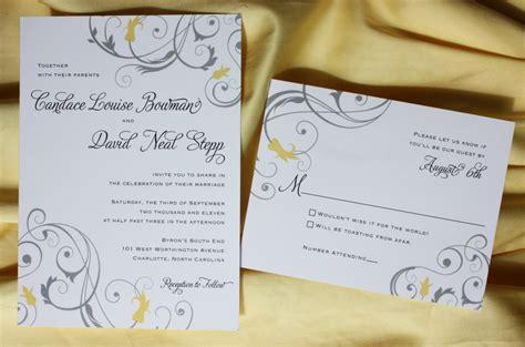 yellow wedding invitations yellow and gray floral swirl wedding invitations
