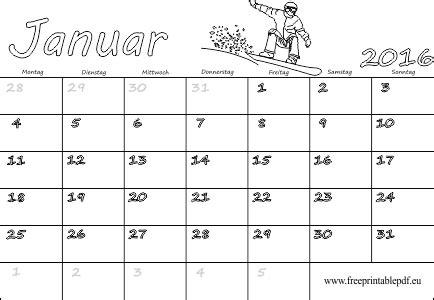 Kalender Ausdrucken Monat Monat Januar 2016 F 252 R Drucken Und F 228 Rben Pdf Drucken