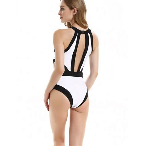 Cutout Halter Swimsuit white contrast cut out halter neck swimsuit