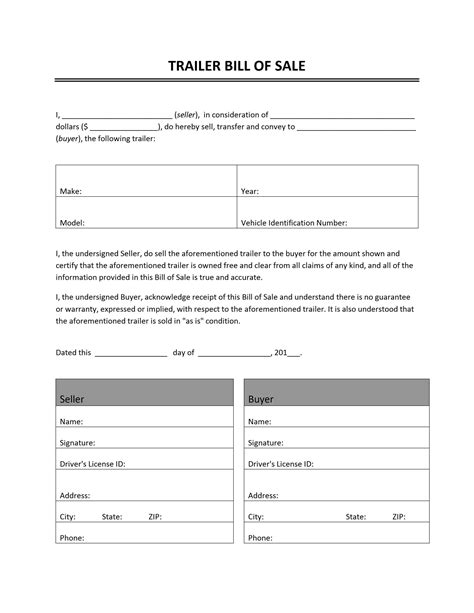 free printable bill of sale cer form generic