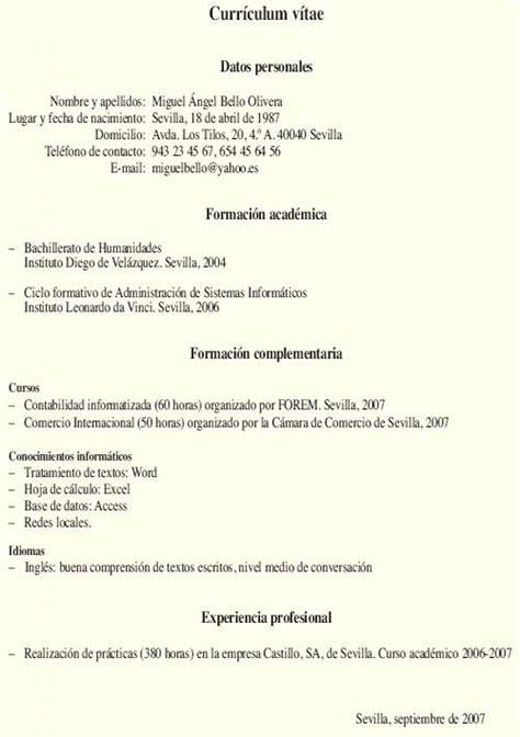Modelo Curricular Peruano Modelos De Curriculum Vitae Peruano