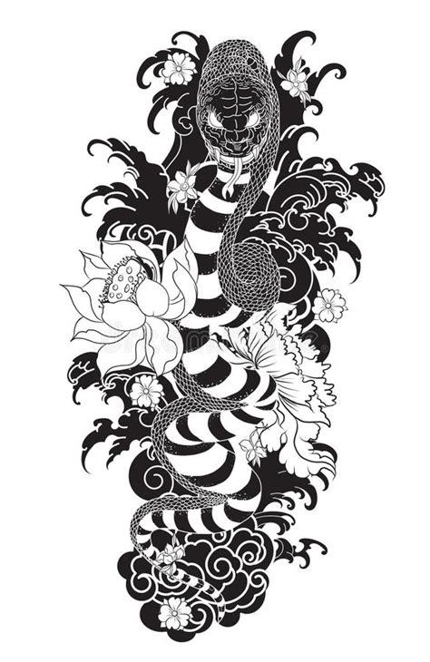 snake tattoo with sakura and peony flower stock