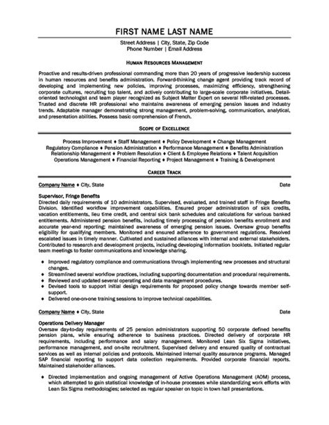 human resources supervisor resume exle human resources manager resume sle human resources