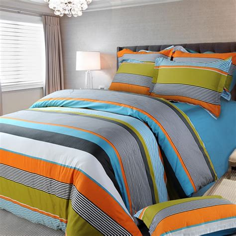 boys queen size comforter sets orange white and blue multi color rugby stripe and