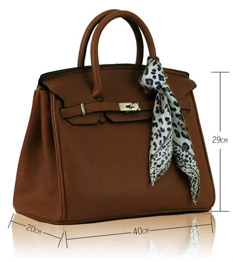 luxury brown tote bag with scarf