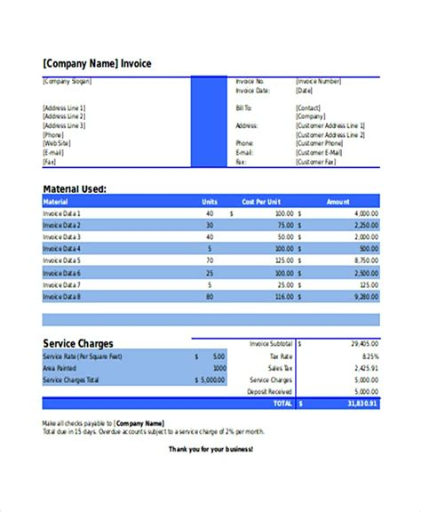 Painting Invoice Template Sle Painting Invoice Template
