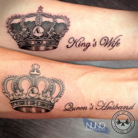 his and her king and queen tattoos and king crown designs