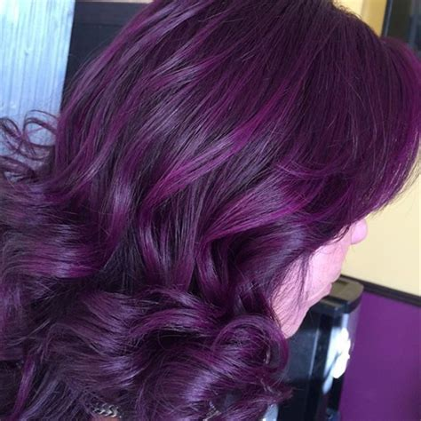 plum hair color black hairstyles with plum highlights