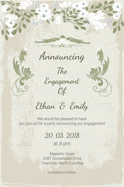 Wedding Announcement Templates For Word by Vintage Engagement Announcement Card Template In Psd Word