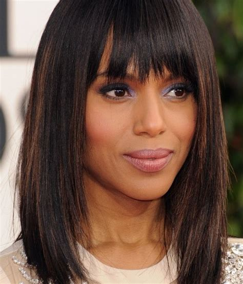 midi length with blunt fringe kerry washington mid length hairstyles straight haircut