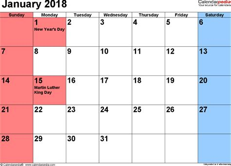 Calendar January 2018 January 2018 Calendars For Word Excel Pdf