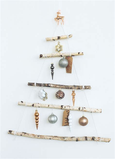 using a birch branch tree for a christmas tree a diy that s for small spaces apartment34