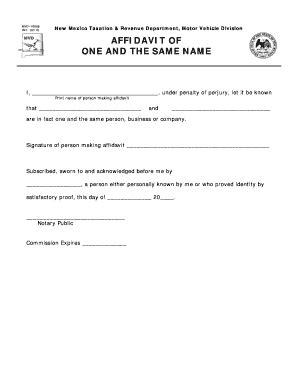same name affidavit form fill online printable
