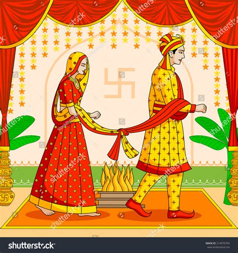 indian wedding banner vector and groom in indian hindu wedding in vector