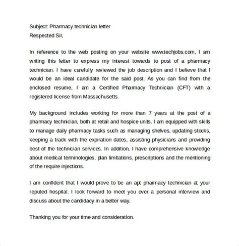 Recommendation Letter Tech Pharmacy Technician Letter 13 Sles Exles Format