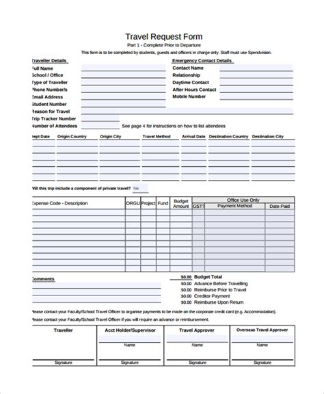 sle travel request form 9 free documents download in