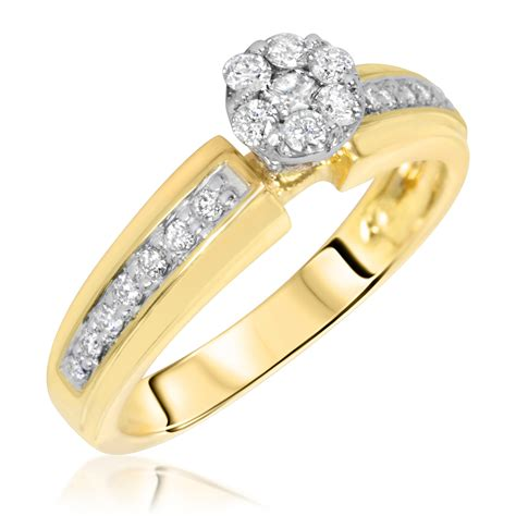 1 2 carat bridal wedding ring set 14k yellow gold