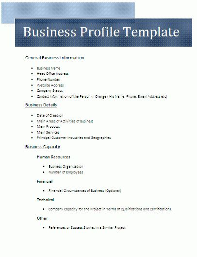 business plan structure template business profile template free business templates