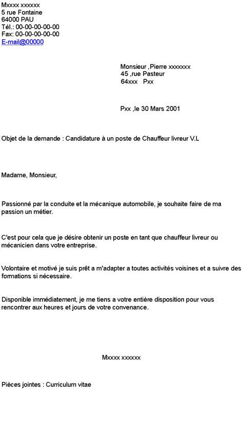 Lettre de motivation chauffeur coursier - laboite-cv.fr