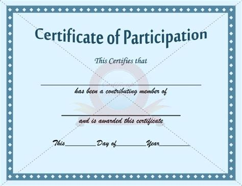 free templates for certificates of participation participation certificate template participation