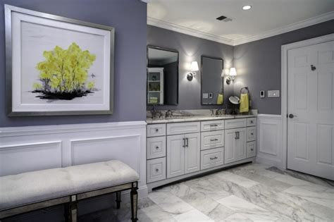 Amazing Small Bathroom Tiles Design #3: Carrera-marble-bathrooms-bench-raised-panel-cabinets-granite-countertop-wall-painting-sink-faucets-mirror-lamps-transitional-design.jpg
