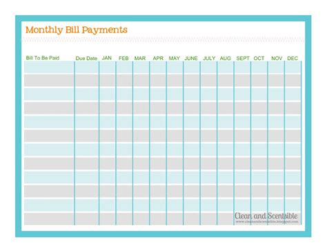free printable monthly bill chart calendar template 2016
