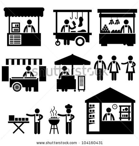 workshop layout symbols stock vector business stall store booth market marketplace