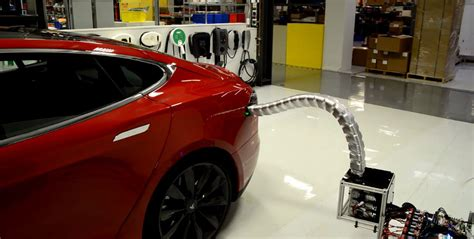 Tesla Car Chargers Tesla S Innovative Car Charger Prototype Is Like A Metal