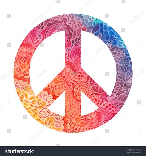 paint a doodle peace sign watercolor peace symbol made painted zentangles stock