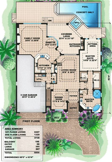 Two Story Mediterranean House Plan Two Story House Plans Mediterranean