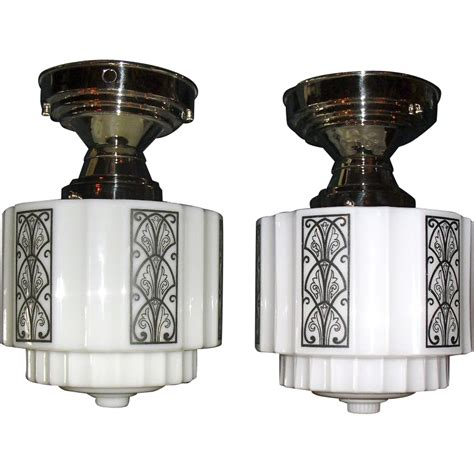 Deco Lighting Fixtures Pair Stylized Deco Ceiling Lights In Nickel Fixtures From Sherlocksantiquelights On Ruby