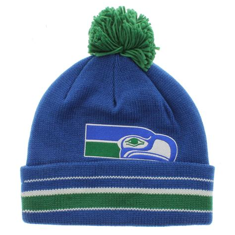 seattle seahawks team colors seattle seahawks the cuffed pom knit beanie team colors