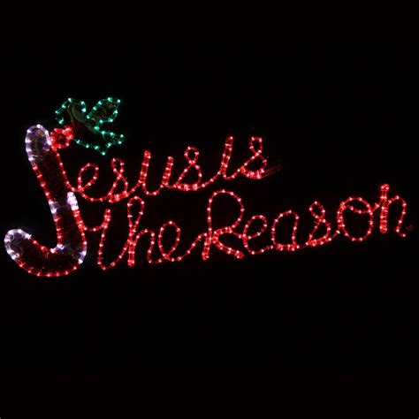 jesus outside christmas lights outdoor decoration 20 quot led rope light jesus is the reason motif