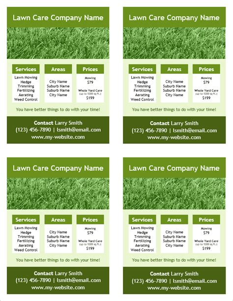 templates for landscaping flyers lawn care flyer template for word