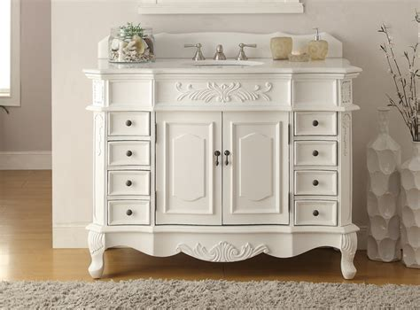 Adelina 48 Inch Antique White Bathroom Vanity Fully Assembled Bathroom Vanities Antique White