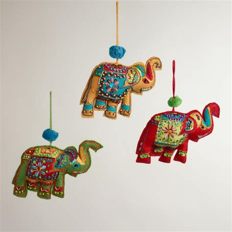 embroidered fabric indian elephant ornaments set of 3